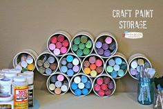 craft room organization, craft rooms, organizing, storage ideas, Craft Paint Storage using PVC pipe fittings 1 70 each