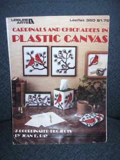 Cardinals & Chickadees Plastic canvas Leaflet Wall Decor Tissue Cover Coasters