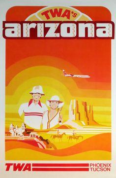 TWA Poster / Arizona (Phoenix, Tucson) / 1970s