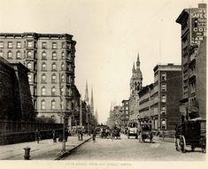Fifth Ave. from 41st St. looking north; New York 1880s/90s.  Note the old Reservoir on the left which later became the site of the New York Public Library.