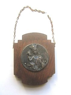 Wooden Plaque Immaculate Mary Medallion Medieval by BetterWythAge