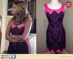 Hanna's pink and black lace dress on Pretty Little Liars. Outfit Details: http://wornontv.net/27288 #PLL #fashion