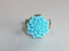 Light Turquoise Blue Blossom on Antiqued Bronze, Adjustable Ring | JanellDunlapJewelryDesigns - Jewelry on ArtFire