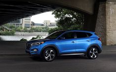 Download wallpapers Hyundai Tucson, 2018, crossover, new blue Tucson, side view, 4k, South Korean cars, Hyundai