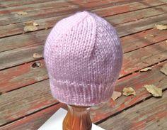 HandKnit Newborn Baby Hat Pink Soft Baby Beanie by SwanJay on Etsy, $12.00