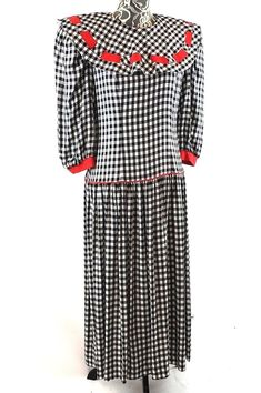 2ae24b935a2 VTG 80s Dress Middy Collar Drop Waist Gingham Office Size 9 10 Etoile  Collection  EtoileCollection