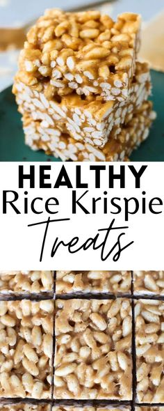These are the best Healthy Rice Krispy Treats! They are a perfect and tasty dessert everyone will love. Vegan!