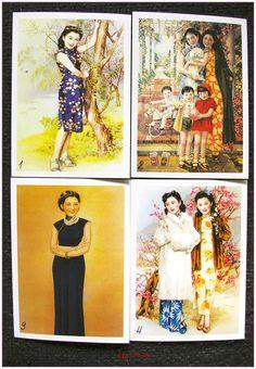 """Carte postale style rétro vintage asiatique women pin up """"modéle 3"""" x1 chinese dolls : Papeterie, carterie par lilycherry"""