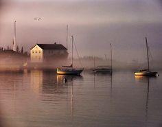 Foggy morning in Grand Marais, Minnesota