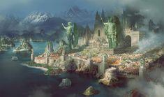 city concept by Avant Choi Fantasy city Fantasy concept art Fantasy landscape