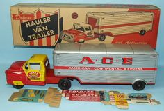 VINTAGE MARX ACE DELIVERY TRUCK & VAN TRAILER TIN TOY & BOX