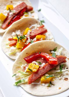 Hawaiian SPAM Tacos with Pineapple! SPAM is very underrated. Slice it into strips and get it crispy in a hot skillet, then make these SPAM tacos! Topped with pineapple and red pepper, these tacos are truly delicious. Pineapple Recipes, Hawaiian Recipes, Mexican Food Recipes, Ethnic Recipes, Dinner Recipes, Simply Recipes, Bobe, Healthy Eating Tips, Tacos