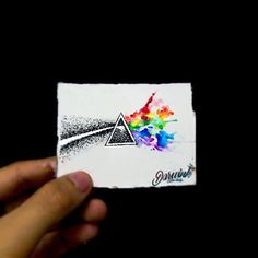 The dark side of the moon painting darwink watercolor and dot dotwork pink floyd