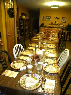 Set a cute and easy Thanksgiving table... these are paper plates reinforced by & Thanksgiving table. Paper plates from hobby lobby. Wine glass candle ...