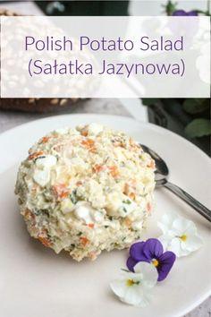 Polish Potato Salad (Salatka Jazynowa) - Megan Home Ukrainian Recipes, Russian Recipes, Slovak Recipes, Potato Dishes, Potato Recipes, Eastern European Recipes, Polish Recipes, Polish Desserts, Vegetable Salad