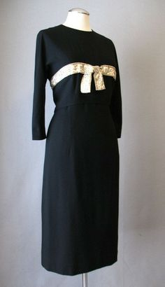 Vintage 50s Dress PATULLO JO COPELAND Beaded Black Cocktail Medium bust 39
