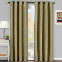 Tan-Beige Galleria Blackout Tonal Stripe Window Grommet Panel