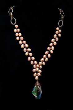 Peach Rose Pearl Necklace Beaded Necklace by CherylParrottJewelry, $149.95