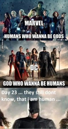 Thor is like the only one in the avengers who's a god! And superman isn't a god. He's a alien. I guess, wonder woman is god too. Funny Marvel Memes, Marvel Jokes, Dc Memes, Avengers Memes, Marvel Dc Comics, Marvel Avengers, Funny Superhero Memes, Avengers Vs Justice League, Justice League Funny