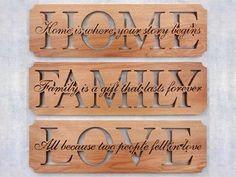 SLDK313 Home, Family & Love Word Art Plaque Set