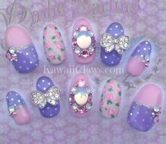 Pink Violet polka dots and roses lolita false/fake nails japanese gel nail art with Swarovski bling and opal Nail Art Designs Images, Long Nail Designs, Gel Nail Designs, Beautiful Nail Designs, Cute Nail Designs, Cute Nail Art, 3d Nail Art, Cute Nails, Pink Gel Nails