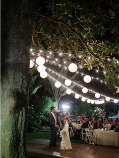 Market Lighting from the beautiful Magnoloa Tree on the Gazebo Lawn.  Kelly + Tim // San Diego Botanic Gardens Wedding » Orange County Husband and Wife Film Wedding Photographers