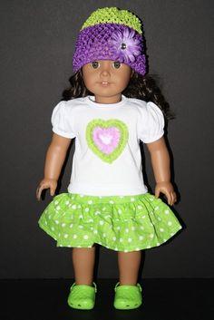 Green Polka Dot Skirt, Heart Shirt and Hat for American Girl Doll $19.50