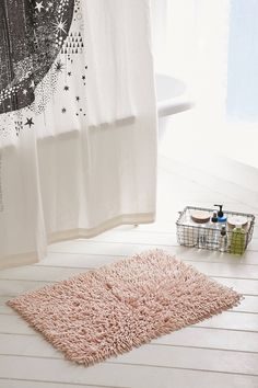 Shop High Pile Shag Bath Mat at Urban Outfitters today. Pink Bathroom Rugs, Bath Rugs, Bathrooms, Master Bathroom, Downstairs Bathroom, Urban Outfitters, Floral Shower Curtains, Interior Rugs, Interior Design