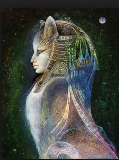 Of the Egyptian gods and goddesses, Bastet was the cat-goddess. The patron goddess of pleasure and joy, she was associated with music and dancing. Bast Goddess, Egyptian Cat Goddess, Egyptian Mythology, Egyptian Art, Egyptian Beauty, Roman Mythology, Moon Goddess, Sphinx Mythology, Goddess Art