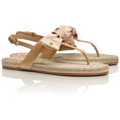 Tory Burch Penny Flat Thong Sandal ($175) ❤ liked on Polyvore featuring shoes, sandals, tory burch, camellia pink, summer sandals, pink bow sandals, braided sandals, tory burch shoes and tory burch sandals