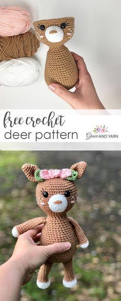 Free Crochet Deer Fawn Pattern - knitting is as easy as 3 knitting .- Free Crochet Deer Fawn Pattern – Stricken ist so einfach wie 3 Das Stricke… Free Crochet Deer Fawn Pattern – knitting is so easy … - Crochet Gratis, Crochet Patterns Amigurumi, Knitting Patterns, Free Knitting, Amigurumi Doll, Free Baby Crochet Patterns, Crochet Baby Toys, Knitting Books, Easy Knitting Projects