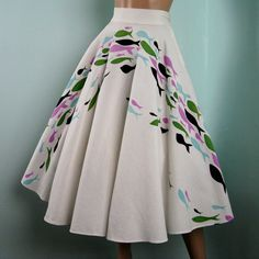 Vintage 1950s Cotton Circle Skirt with Atomic by TravelingCarousel