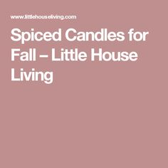 Spiced Candles for Fall – Little House Living