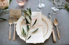 Table setting with menu and placecards from Ribbons & Bluebirds. Christy Tyler Photography. An Urban Affair Event Planning.  Romantic Chicago Wedding inspiration from Ruffled Blog.