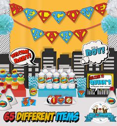 SALE Superhero Baby Shower Party Package  by LilFacesPrintables