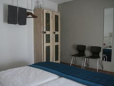 Bedroom, old wardrobe re-used, towel rack, relax, holiday, Italy, Le Marche.