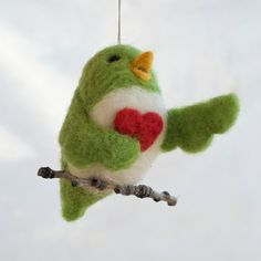 Needle Felted Love Bird Ornament Singing with by scratchcraft