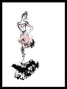 Poster med mode illustration föreställande kvinna i klänning. Print i svart, vitt och rosa med modeskiss som passar bra med andra tavlor och affischer med fashion motiv.