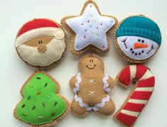 Set of 6 Felt Cookie Holiday by GingerSweetCrafts on Etsy