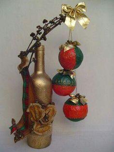 Resultado de imagen para botellas decoradas con muñecos navideños