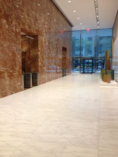 Lobby in NYC showcasing Caldia marble floor panels