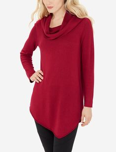 Soft Cowl Neck Tunic | Curved Hem Sweater | THE LIMITED