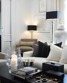 New living room white black grey lamps 55 Ideas Living Room White, White Rooms, New Living Room, My New Room, Living Room Interior, Home Interior Design, Living Room Decor, Cream And Black Living Room, Living Area