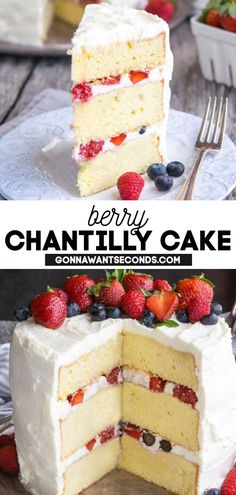 *NEW* Brighten their day or celebrate any occasion with this show-stopping Berry Chantilly Cake! It's gonna' be the new FAV, hands down. This little labor of love is so good it should come with a warning – beautiful, versatile, and insanely delicious! #BerryChantillyCake #Berries #ChantillyCake #Cakes #BirthdayCake Strawberry Desserts, Köstliche Desserts, Summer Desserts, Delicious Desserts, Strawberry Chantilly Cake Recipe, Summer Fruit, Frosting Recipes, Cupcake Recipes, Cupcake Cakes