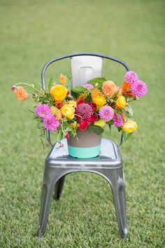 paint-dipped vase, photo by Ben Q Photography, flowers by Bows and Arrows http://ruffledblog.com/color-pop-wedding-ideas #weddingideas #centerpieces #bright