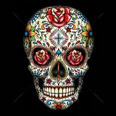 Day of the Dead Sugar Skull With Red Roses Womans Short Sleeve T Shirt 16553 Overstock Sale