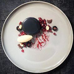 - World's Finest Food Plating - Chocolate & Blackberry Delice Plated Desserts, Food Presentation, Food Plating, Gourmet Recipes, Food Art, A Table, Tasty, Cooking, Ethnic Recipes