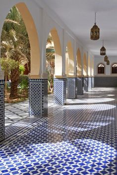 Courtyard with arches and tiles in Moroccan style in Rissani Vinyl Wall Mural - . - Courtyard with arches and tiles in Moroccan style in Rissani Vinyl Wall Mural – Africa - # Moroccan Decor Living Room, Moroccan Interiors, Moroccan Bedroom, Morrocan Decor, Moroccan Curtains, Moroccan Kitchen, Spanish Style Homes, Spanish House, Hacienda Style Homes