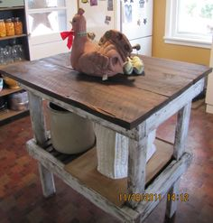 Rustic Kitchen island, re-purposed potting bench, reclaimed barnwood top