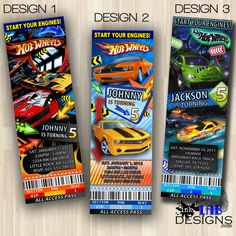 Hot Wheels Race Cars Ticket Birthday Party Invitations from Prisography